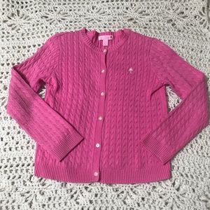 Lily Pulitzer Girls Pink Cardigan with Palm Tree L